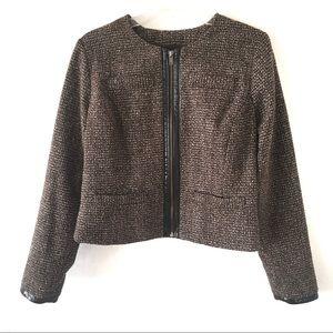 Mossimo Tweed Jacket Blazer Zip Leather Trim Brown